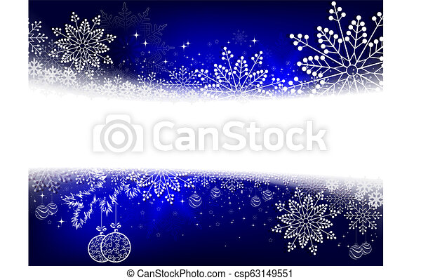 Christmas blue design with numerous white, beautiful snowflakes and balls in retro style - csp63149551