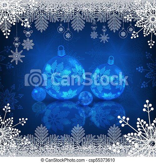 Christmas blue design with shiny balls - csp55373610