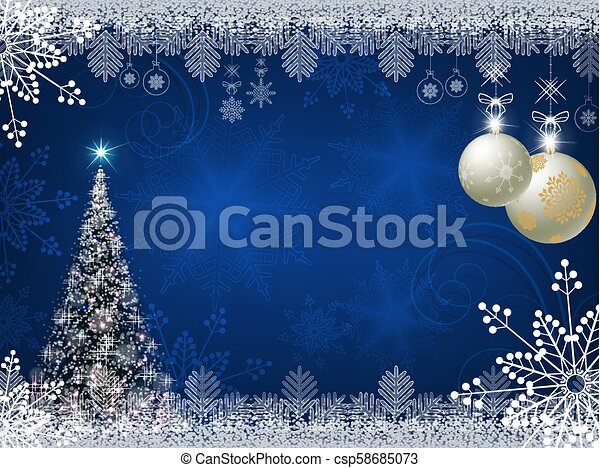 Christmas blue design with shiny Christmas tree - csp58685073
