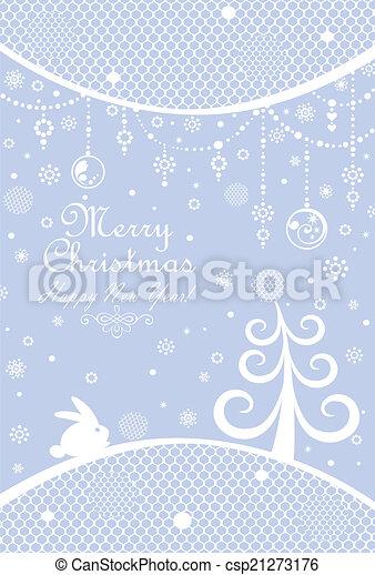Christmas blue greeting - csp21273176