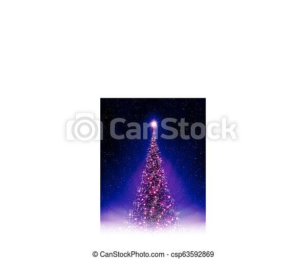 Christmas blue postcard with shiny purple Christmas tree with rays of light. - csp63592869