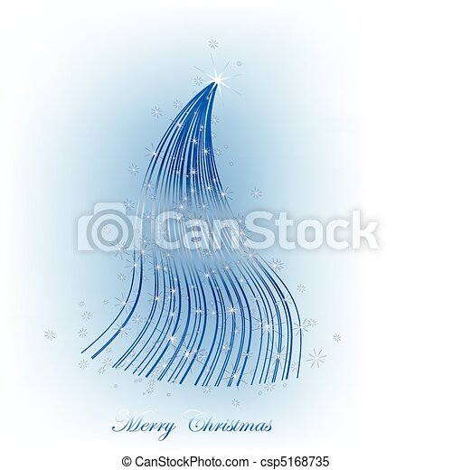 Christmas blue tree with stars - csp5168735