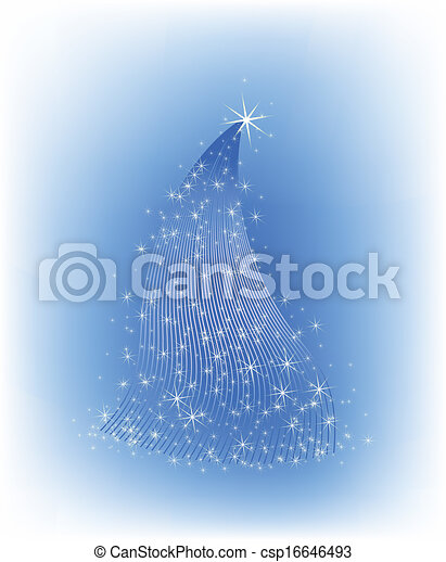 Christmas blue tree with stars - csp16646493