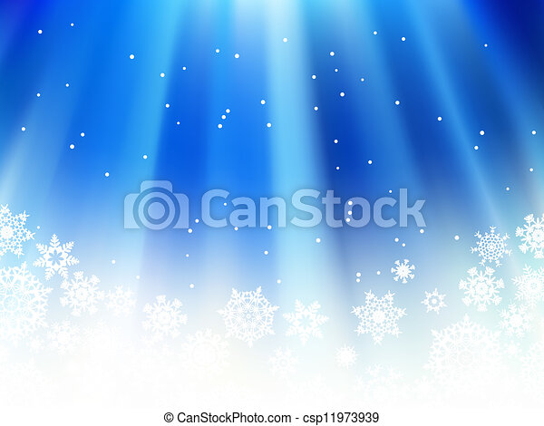 Christmas blue with snow flakes. + EPS8 - csp11973939