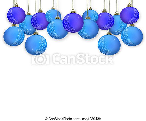 Christmas Border Blue Ornaments