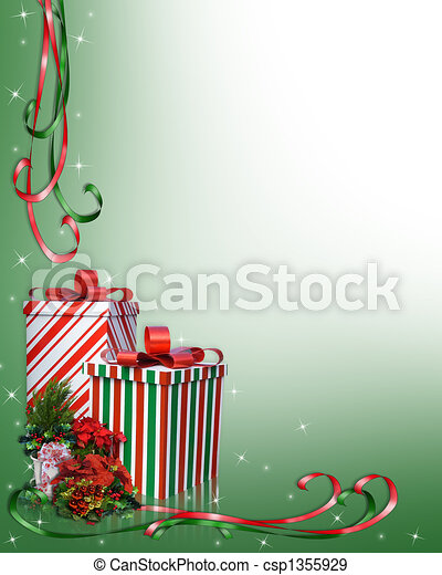 Christmas Border Gifts and flowers - csp1355929
