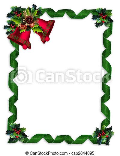 Christmas border Holly, bells, and ribbons - csp2844095