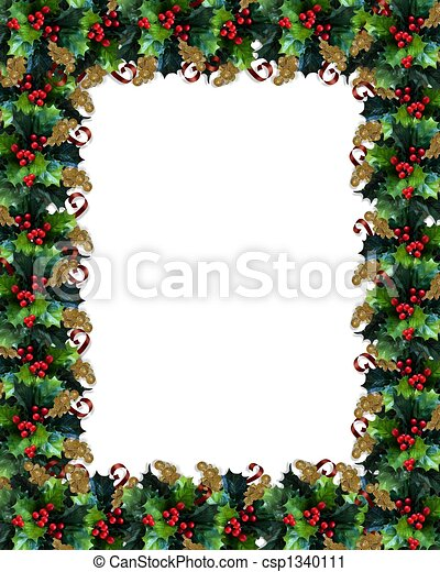 Christmas Border Holly - csp1340111
