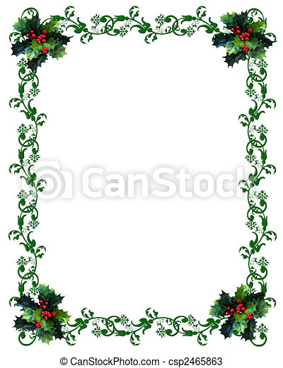 Christmas border Holly - csp2465863