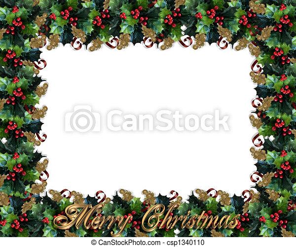 Christmas Border Holly Frame - csp1340110