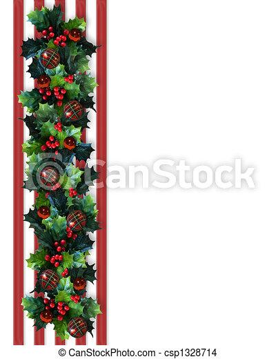 Christmas Border Holly Garland - csp1328714