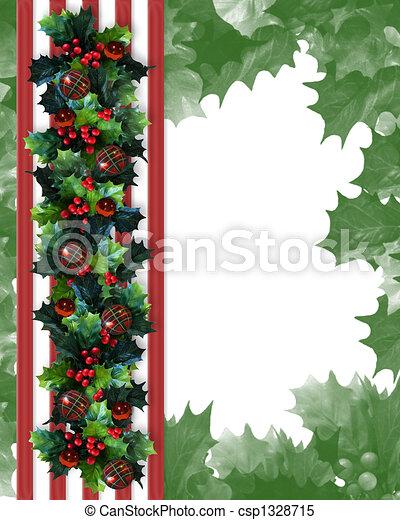 Christmas Border Holly Garland - csp1328715