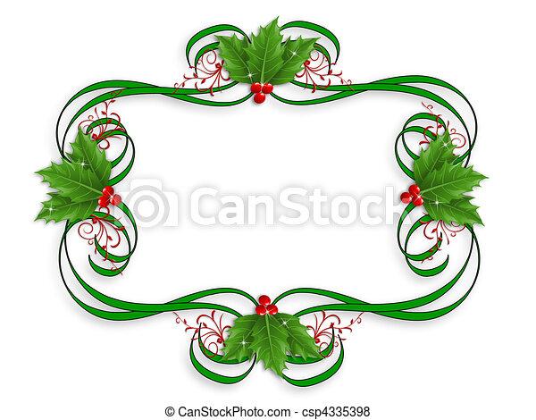 Christmas Border holly - csp4335398