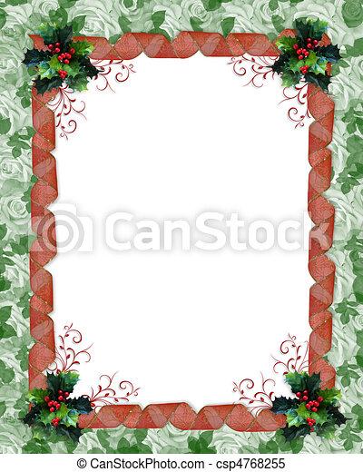 Christmas Card Border.Christmas Border Ribbons And Holly