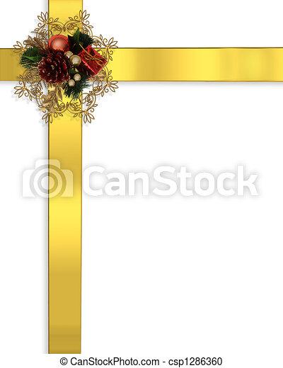 Christmas Border Design.Christmas Border Ribbons Gold
