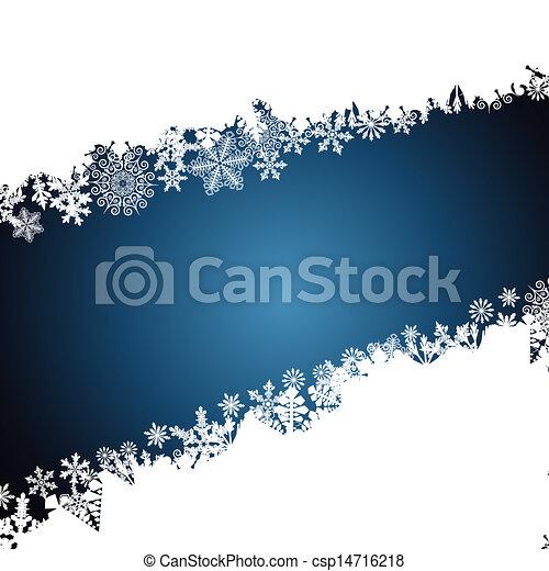 Christmas border, snowflake design background. - csp14716218