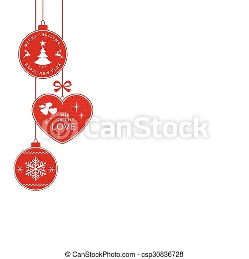 Christmas Border With Hanging Christmas Ornaments