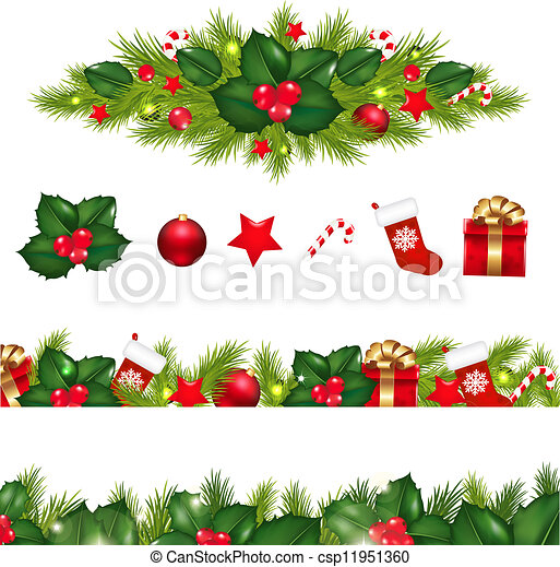 christmas borders set with xmas garland  isolated on white Hawaiian Borders Clip Art hawaiian christmas images clip art