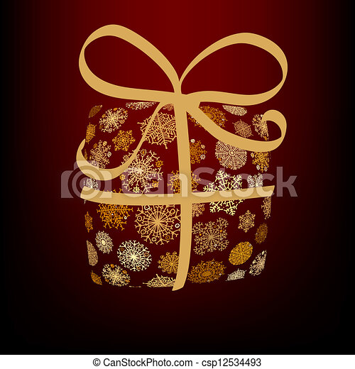 Christmas box made from golden snowflakes. + EPS8 - csp12534493