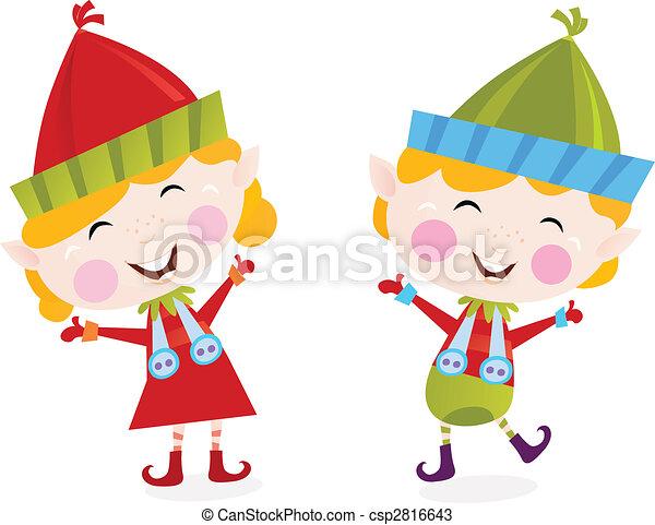 Christmas boy and girl elves - csp2816643