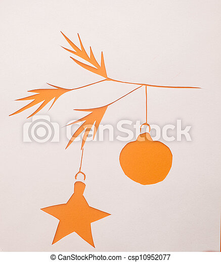 Christmas branches origami. - csp10952077