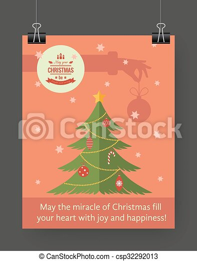 Christmas brochure template. flat flyer design xmas fir... vector ...