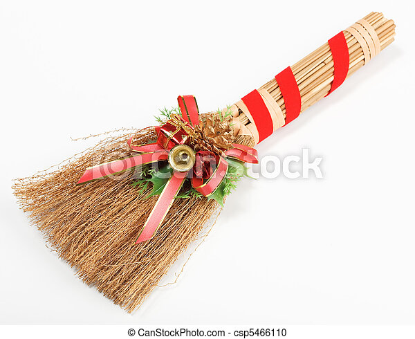 christmas broom decorations isolated on white csp5466110 - Christmas Broom Decoration