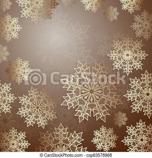 Christmas brown design with a set of elegant snowflakes, - csp63578968
