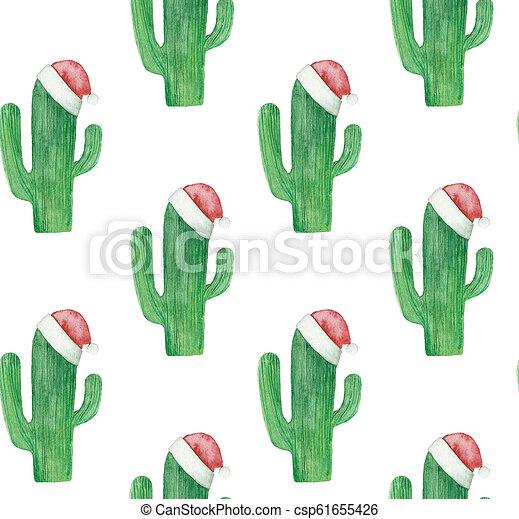 Christmas Cacti.Christmas Cactus Pattern Green Cacti Background