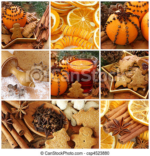Christmas cakes and spices - csp4523880