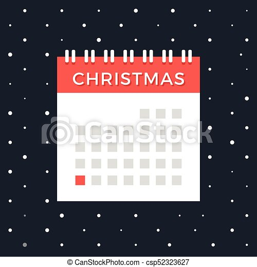 christmas calendar vector calendar with december 25 red date christmas day xmas winter holiday - Whens Christmas Day