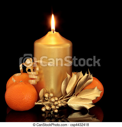 Christmas Candle, Holly and Fruit - csp4432418