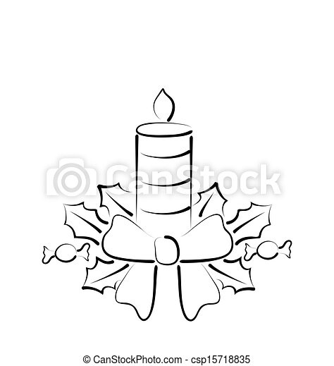Illustration Christmas Candle With Bow Freehand Style