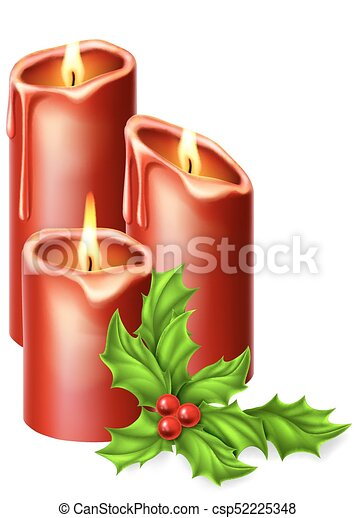 Christmas Candles.Christmas Candles And Holly