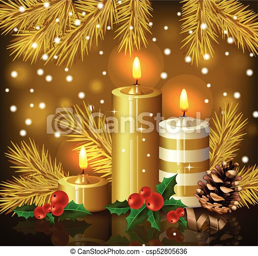 Christmas candles background. Holy night Eve golden card. Vector - csp52805636