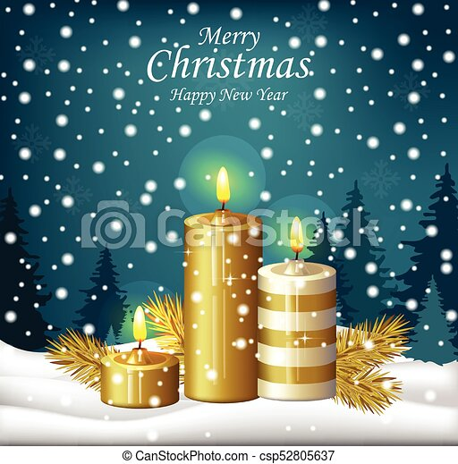 Christmas candles background. Holy night Eve winter card. Vector - csp52805637