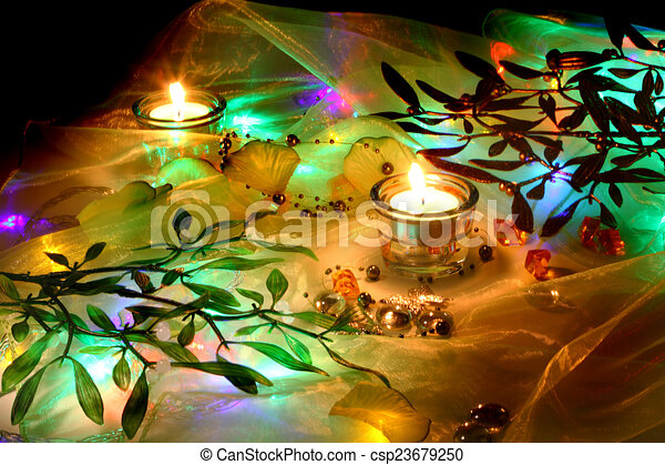 christmas candles background - csp23679250