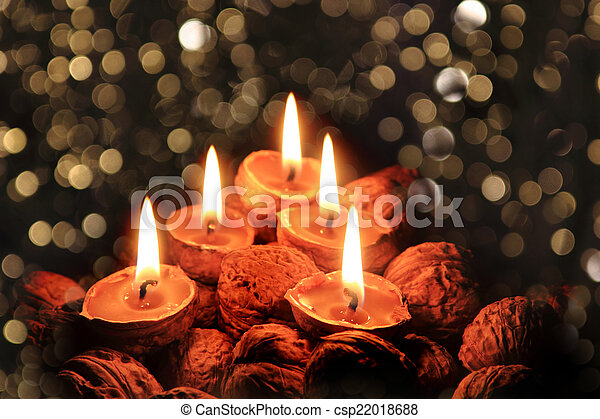 christmas candles in the dark night - csp22018688