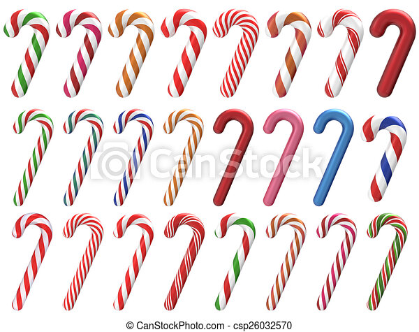 Christmas Candy.Christmas Candy Cane 3d Set