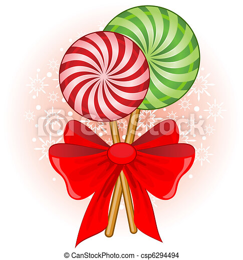 Christmas Candy Clipart.Christmas Candy Cane Decorated Bow