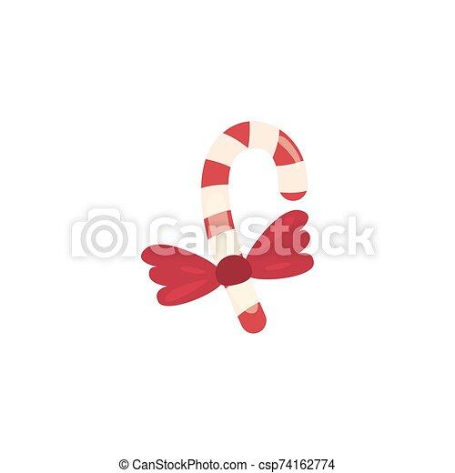 christmas cane on white background - csp74162774