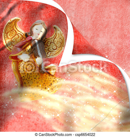 Christmas card angel playing the violin  - csp6654022
