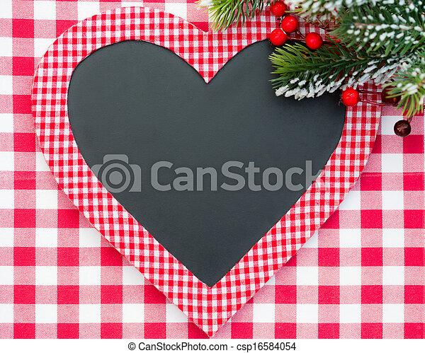 Christmas card blank in heart shape - csp16584054