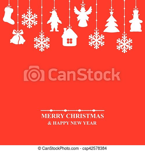 Christmas card decorated baubles - csp42578384
