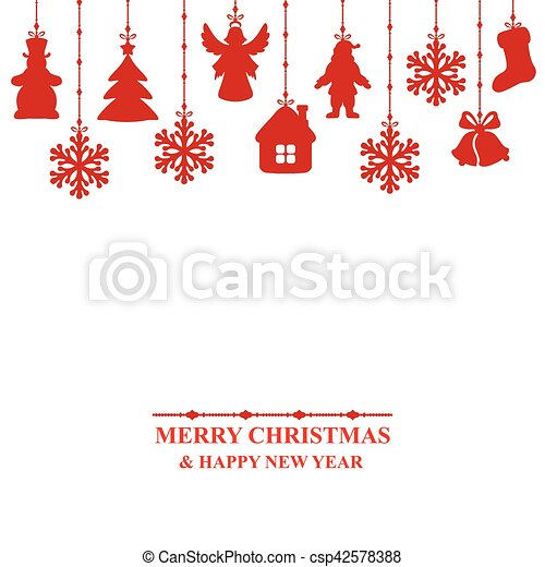 Christmas card decorated baubles - csp42578388