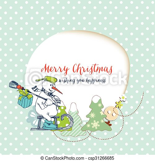 Christmas card, funny snowman delivering gifts and space for text frame - csp31266685
