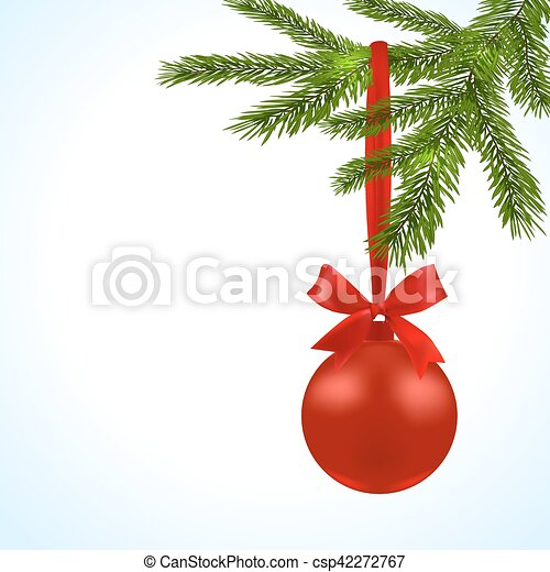 christmas card green branches of a christmas tree with red balls and ribbon on a white background