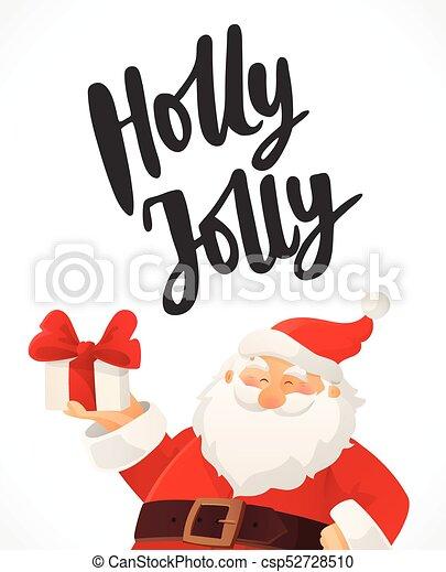 Christmas card. holly jolly hand drawn text. funny cartoon santa ...