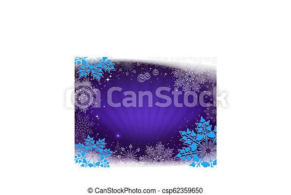 Christmas card in blue with rays of light, a small Christmas tree and beautiful snowflakes. - csp62359650