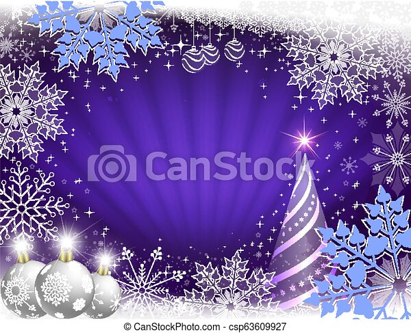 Christmas card in blue with rays of light, a striped Christmas tree, white balls and beautiful snowflakes. - csp63609927